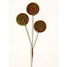 Glitter Lollipop Stem Green and Red