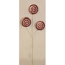 Glitter Lollipop Stem Red and White