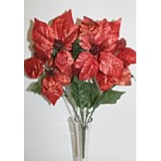 Poinsettia Flower Bunch Red